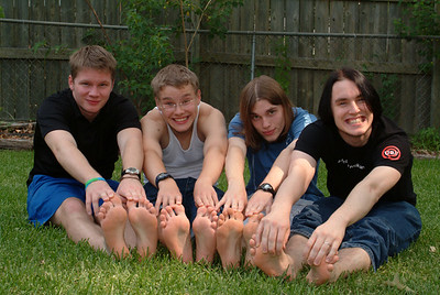 """Nate, Alex, Ty and Matt, showing off their """"beautiful feet""""!! (OK, some of them are just """"showing off""""!)"""