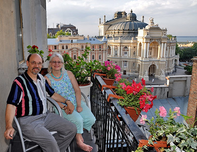 Clay & Darlene on a friend's balcony, overlooking Odessa Opera House and the Black Sea.