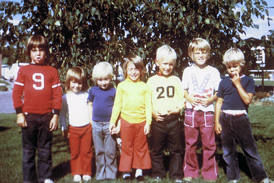 Neighbourhood kids on front lawn in Belleville. Todd third from left