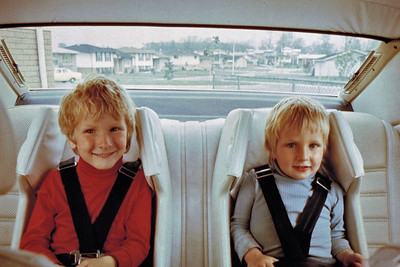 Todd and Kevin all buckled up and ready to go - 1976