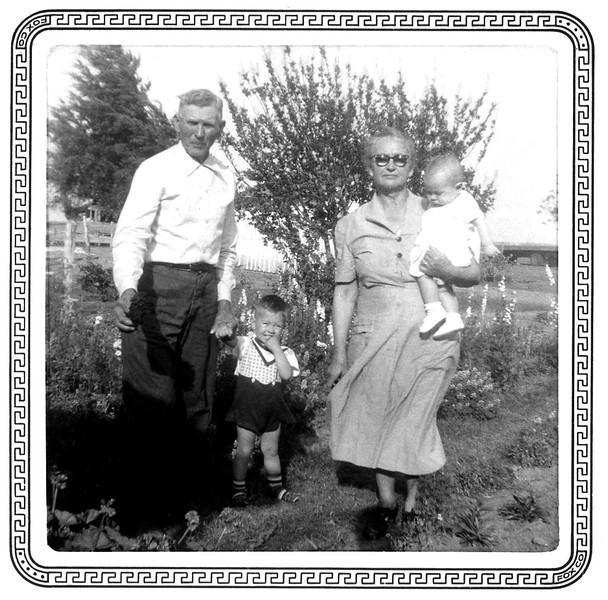 Grandpa Joe Kulcak, Mark, Grandma Lena Kulcak, Bridget (9 months)
