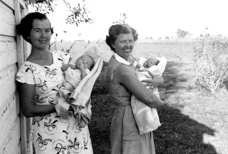 Mom (Olga) and Bridget, and Aunt Emma Kulcak and Elaine