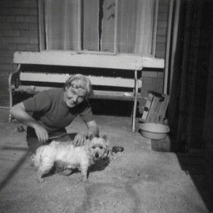 DPB-58: May (Maisie) McKeown with Lucky the dog
