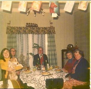 DPB-157:  David Barr with dog Sandy, David Barr Snr, James (Jimmy) McKeown, Emily (Cissy) McKeown and Lizzie MceKeown Christmas circa 1970 at 187