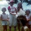 Susan, age 7; Mark, age 12;, Patrice, age 10; Jennifer, age 5, with their dog, Lassie