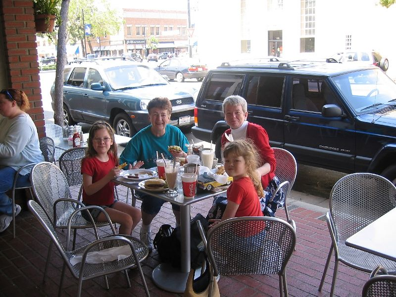 Aunt Sherry joined them after Easter weekend.  Here they are taking a break from shopping.