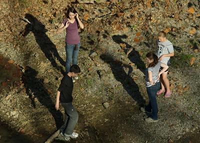 Patrick, Becca, Anna and Rachel Along the Powell River, Lee County VA October '10