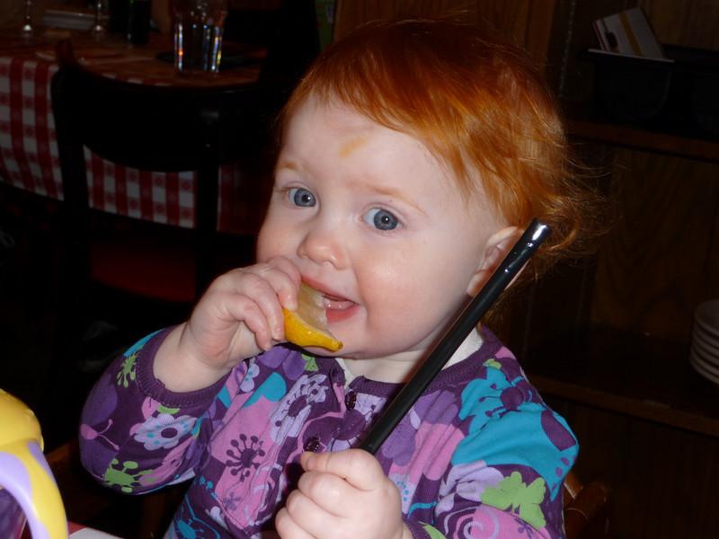 Amelia likes the lemons!