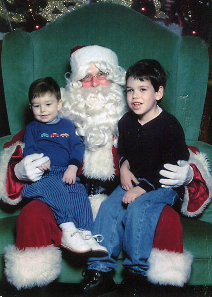 Joseph and Vincent with Santa - 2001