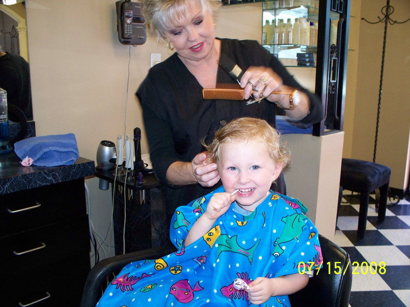 Noah's first haircut - July, 2008
