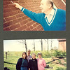 Dad pointing to a bullet hole in side of home, from a nearby Civil War skirmish.  Bottom photo:  Linda B, Larry Loudermilk, Margaret Broudy, Jane Loudermilk