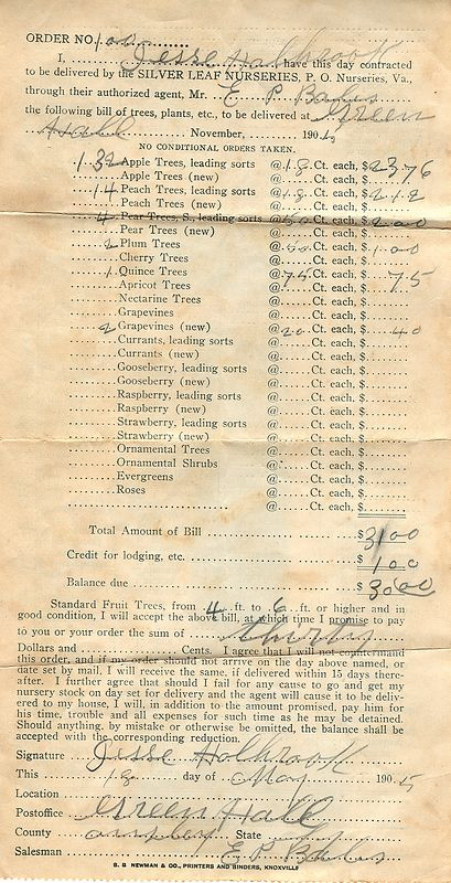 Jesse Holbrook's original purchase order for his farm orchard in 1905.