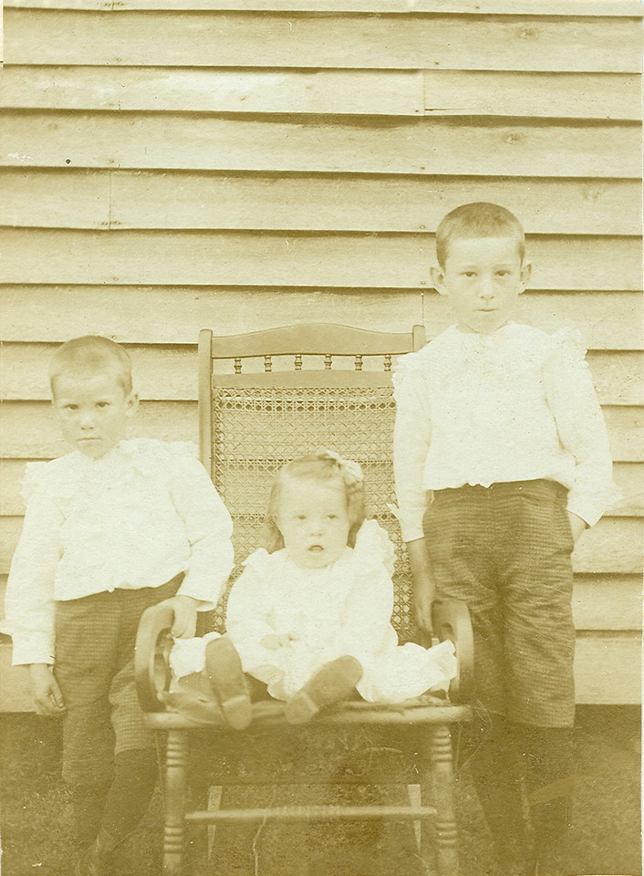 Burton, Levada, and Clayton children of Jesse and Charlotte Holbrook.  circa 1902