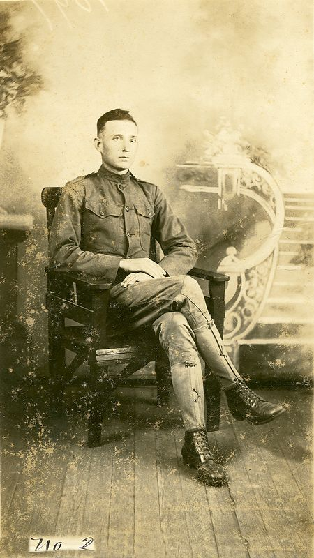 WWI veteran Clayton son of Jesse and Charlotte Holbrook.   circa 1919