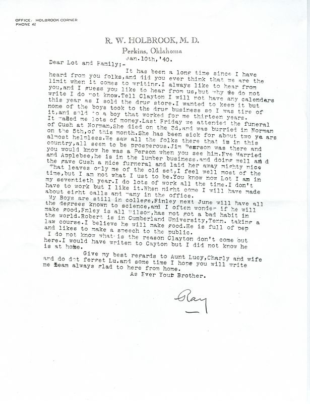 Copy of a letter from Ray Holbrook in Perkins Oklahoma to his family on January 10, 1940.