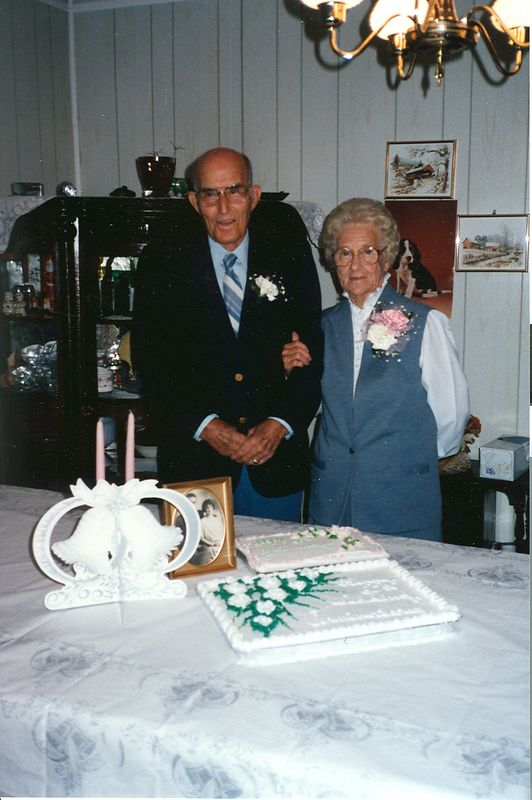 Charlie and Beatrice Holbrook at their sixtieth wedding anniversary  September 16, 1986.