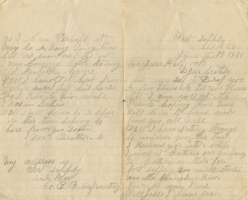 Letter written June 19, 1891 from Grant Holbrook to brother Jesse Holbrook.
