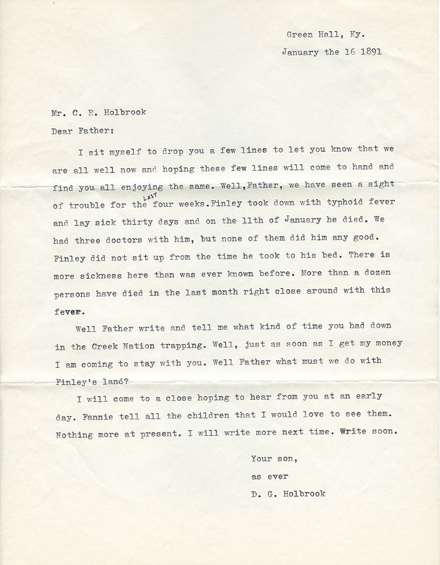 Transcript from a letter from Delaney Grant Holbrook to his father Campbell Rice Holbrook January 16, 1891.