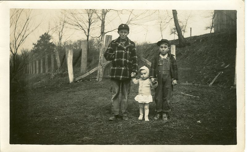 Charlie and Beatrice Holbrook's sons Walter Ray, Donnie, and Ronnie.  circa  1948