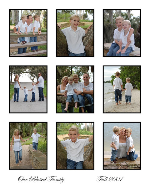 This 9 photo collage of favorite family photos and individual photos in a 16 x 20 print can be matted and framed into a 20 x 24 standard frame.