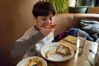 Enjoying a pizzette at Scopello's.
