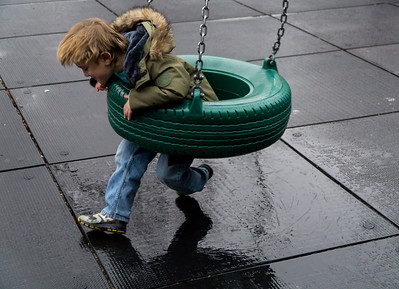 A playground can be fun even on a rainy day. Ask Sammy.