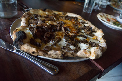 And this is the pizza ai funghi. Wild mushrooms and mozzarella.