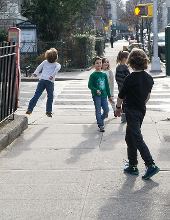 On our way to Oliaastro Pizza Bar on Washington Avenue. The cousins are having lots of fun.