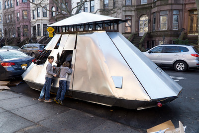 A spaceship (or something) has landed (or parked) on Park Place.