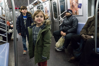Returning home to Brooklyn on the Q train. Our experienced subway riders.