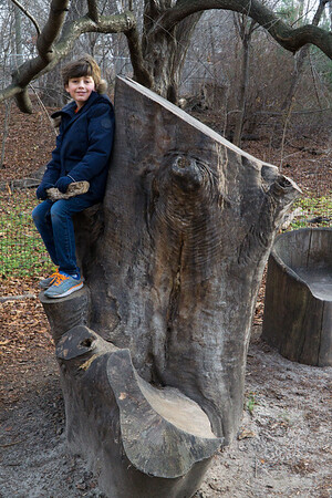 Ethan's found a nice wood throne to sit upon.