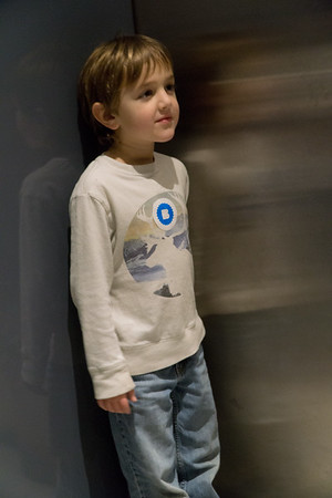 Sammy in the elevator at the Brooklyn Museum.