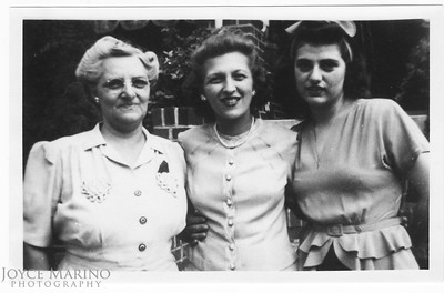 (left to right):  Dad's Mom, Aunt Cassie and Aunt Lucille. Don't know location or date.