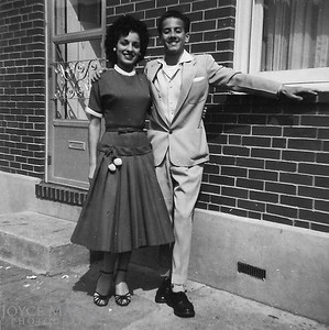 Great picture of Cousin Shirl and Ed in front of their home, 423 Washington Street, Baltimore.