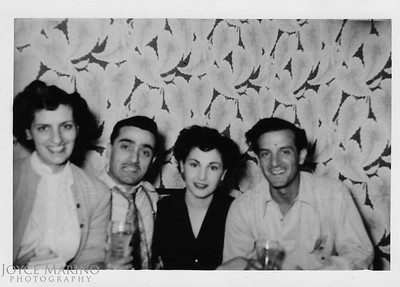 Mom, Uncle Charlie, Aunt Josie and Uncle Phil.  Location & Date:  Unknown.