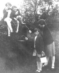 DPB-107: May (Maise) McKeown and Leah Shaw  (top) with Annie McKeown and May Shaw (below) pumping water in  1920's.