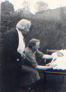 DPB-18: Emily (Granny) McKeown and Aunt Martha with David Barr in 1953. Martha is mother of Robert, Lily, Martha, May and William McKeown