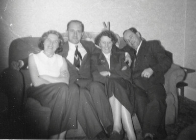 DPB-22: May (Maisie) Barr (nee McKeown), William (Billy) Barr home from Canada, Eileen Prentice (nee Montgomery) and David Barr Snr 1955