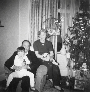 DPB-26: David Barr Snr with May (Maisie) Barr nee McKeown and son David Barr Jnr 1957