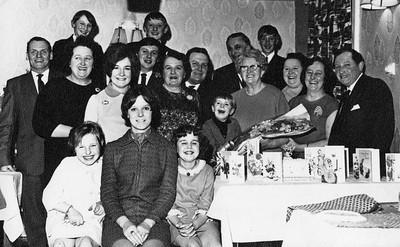 WRM-23: From Back left John (Jack) Boner , Elibabeth (Lillie) Boner , with William (Billy)Robert Moody behind Lillie, Margaret Boner nee Coutts , John, (Norman Winston McKeown behind John Boner), Martha McKeown, William, Ian , Martha Jane Bryans, (Robert (Bob) Radcliffe Moody and Robert (Bob) Radcliffe Moody behind ), May Moody (nee McKeown), Elizabeth McKeown nee Scott, Robert McKeown. Front Ann McKeown, Elizabeth (Lillian) Boner, and Heather Moody. Taken at Isabelles restaurant Belfast for surprise 60th birthday party for Martha