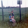 Gilbert, Seth and Christine on the District 40 swings<br /> 1973ish