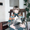 Eric with trio of cats<br /> early 1970s