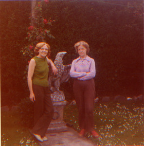 DPB-46: Anne Patterson (nee McKeown) and May (Maisie) McKeown in the back garden of 187 Sandown Road, Belfast