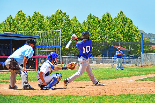 His last at bat today hit the center field fence on the fly, if he would have had a little more height on the ball it would have been gone!