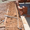 Footing dug. Conduit laid out for electrical