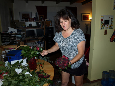 Sherri makes the brides bouquet and all the floral arrangements for the wedding