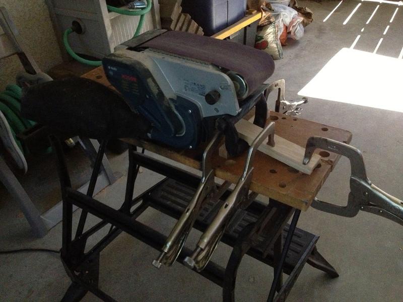 My make-shift stationary belt sander.