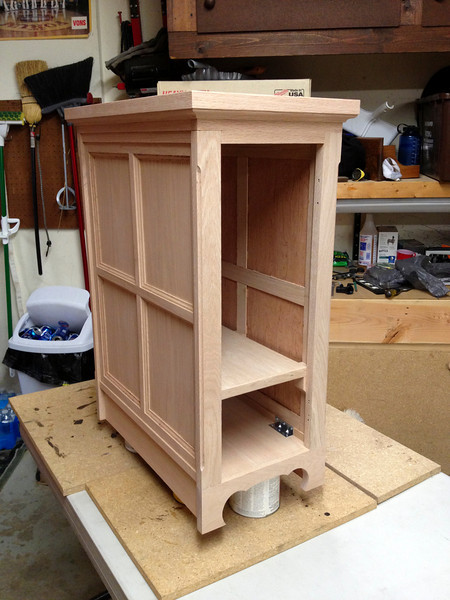 """Sanded and ready for stain.  This was one of the longest days, if not, """"The longest day,"""" 11-12hrs to sand and stain the cabinet."""