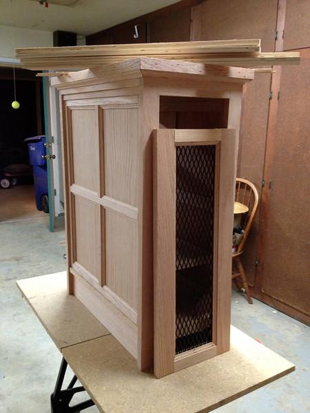 The rear cabinet door.