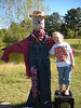 Dressing up the scarecrows.